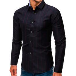 blusa con botones rojos Rebajas Blusa informal para hombres con un solo pecho Rojo y blanco Cuello vuelto opcional Blusa ajustada de manga larga con blusa # 0725