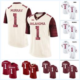 крем двойной Скидка 1 Кайлер Мюррей Оклахома Сунэрс NCAA Футбол для колледжа Джерси для мужчин, женщин, юношей с двойным именем Имя логотипы Белый Красный Крем