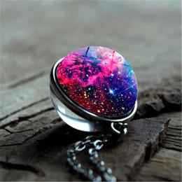 da61f5640c6 2019 nebulosa universo galáxia 2019 Moda Colorido Galaxy Nebulosa  Dupla-face Bola De Vidro Pingente