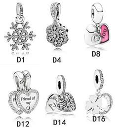 encantos de brillo Rebajas Auténticos 925 perlas de plata esterlina colgante adapta pulsera Pandora encantos de colores para la cadena de la serpiente collar europeo de la manera DIY joyería