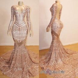 meilleures robes de bal de sirène d'or Promotion 2019 Meilleures ventes sirène manches longues paillettes robe de bal sexy col v ouvert dos arabe robes de soirée en or BC0841
