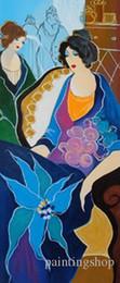 textura da lona do óleo Desconto Itzchak Tarkay Nouvelles Figuration Home Obras de arte Moderna Senhora Retrato Pinturas a óleo sobre tela Canvas Côncava e Textura Convexa IT154