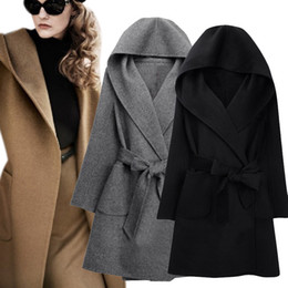 guarnição da pele de capa preta Desconto Recém Inverno Mulheres Casaco De Lã De Manga Longa Dois Lados Desgaste Belted Solto Jaqueta De Lã Quente Com Capuz Outerwear