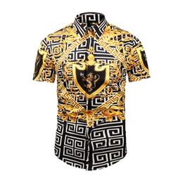 2019 итальянские рубашки бренды Новый итальянский бренд дизайн роскошные мужские повседневная рубашка с короткими рукавами модельер смешанный цвет вышитые рубашки Медуза рубашка дешево итальянские рубашки бренды