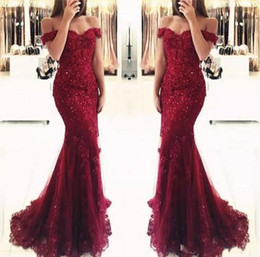 short gold sequin prom dresses Promo Codes - Elegant Burgundy Off the Shoulder Beaded Lace Mermaid Prom Dresses 2019 Short Sleeves Floor Length Formal Evening Gowns Vestido de Fiesta