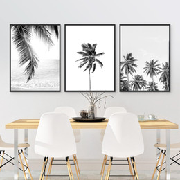 decoração de arte tropical Desconto Tropicais Art Folha de palmeira em tela Pôsteres Impressões, Tropical Plam Fotografia Árvore Pintura Preto Branco Imagem Início Wall Decor Art