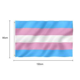 Brisa azul on-line-Frete Grátis 100 pcs 3x5 FT Brisa Transgender Bandeira Rosa Bandeiras Do Arco Íris Orgulho LGBT Bandeiras de Bandeira com Grommets de Bronze