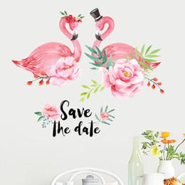 etiquetas da parede dos corações das flores Desconto 60 * 90 cm ins crianças flamingo flor parede pictures para sala de estar decoração do quarto menina colorida adesivos de coração à prova d 'água decoração da sua casa