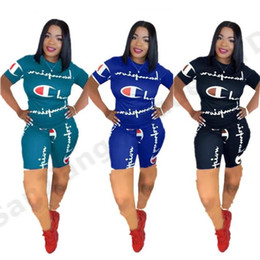 yoga summer shorts Promo Codes - Women Champions Summer Shorts Tracksuit Letter Print T-shirt Top + Shorts 2 Piece Set Summer Sportwear Jogger Yoga Outfit S-2XL A3162
