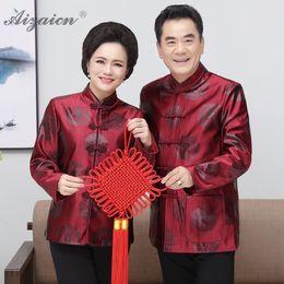 Costumi cheongsam online-Tang Costume Inverno Raso Cheongsam Padre Compleanno cinese moderna Abbigliamento cinese Capodanno Costume abiti anziani