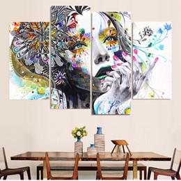 2019 15 marco digital Pintura en lienzo Arte de la pared 4 unidades triste hermosa mujer fotos decoración para el hogar sala de estar modular HD impreso colorido cartel marco 15 marco digital baratos