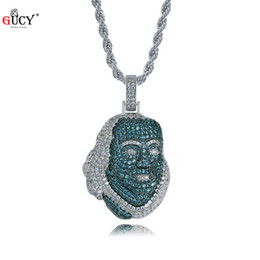 famous figures Coupons - GUCY New ICED OUT Franklin Famous Figure Pendant Necklace Cubic Zircon Stones Hip Hop Men Women Jewelry Gift