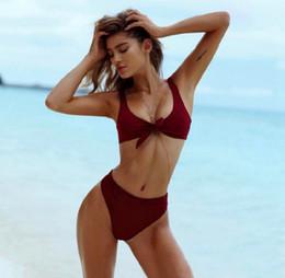 Donna torace caldo online-Vestiti da donna bikini Hot Bikini 2019 petto annodato costumi da bagno costume da bagno vita alta costumi da bagno push up sswimwear per le donne drop shipping