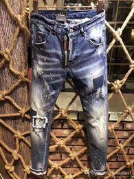 Les modèles d'explosion repèrent les jeans fonctionnels bleu-profond des jeans fonctionnels de la mode européenne des jeans de la rue des hommes de la mode européenne ? partir de fabricateur