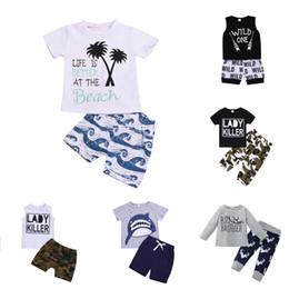Camisa dos meninos 13 on-line-Conjunto de roupas de bebê menino 13 projeto dos desenhos animados encabeça crianças letra t-shirt crianças roupas de grife menino calças elásticas criança roupas de bebê roupas 06