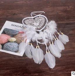 2019 varitas de cristal al por mayor Dreamcatcher Wind Chimes Handmade Peach Heart Dream Catcher Net con plumas 60 cm Colgante de pared Dreamcatcher Craft Gift Decoración del hogar