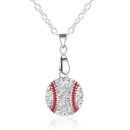 b0bcf4e91f65 collar largo de plata del suéter Rebajas Cristal Diamante Colgante de  Béisbol Collar de Plata Cadena