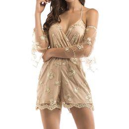 378c255f8088 Womens Sexy Body Summer Lace Sleeve Deep V-cuello Fashion Lace Body Mujeres  Camisas Backless Camisola Casual Monos de tela