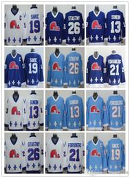 camisolas de quebec-nordiques Desconto Cord Quebec Nordiques # 19 Joe Sakic 21 Forsberg 26 Stastny 13 Sundin 32 BROUSSEAU Branco Drak Light Blue Camisa De Hóquei Costura Encomenda