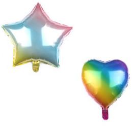 Ballon rond en aluminium en Ligne-18 pouce Graduel Balloon Amour Arc-En-Ballons Rond étoile à cinq branches En Aluminium feuille Ballons pour La Fête D'anniversaire Décoration 4 styles