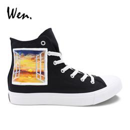 cd3ead689cef48 Wen Original Black High Top Canvas Sneakers Handgemalte Schuhe Design  Fenster Landschaft Malerei Schuhe Männer Frauen Plimsolls Wohnungen   245583