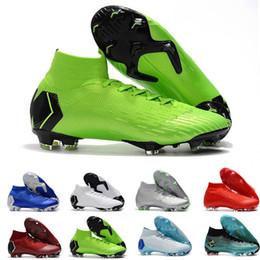 2019 tacos de fútbol azul rojo Mercurial Superfly Cr7 Alto Verde Negro Zapatos de fútbol Zapatillas de deporte para hombre Azul Rojo Amarillo Naranja Botas de fútbol Botines Diseñador Zapatillas Tamaño 39-46 tacos de fútbol azul rojo baratos