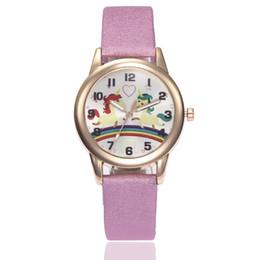 Women Watch Fashion Cute Cartoon Unicorn Leather Strap Kids Wristwatch Classic Digital Girl Boy Watch Child Quartz