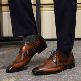 ботинки из коричневой кожи Скидка FELIX CHU Men's Wingtip Toe Oxford Shoe Black Brown Genuine Leather Lace Up Derby Shoes Crocodile Pattern Mens Dress Shoes
