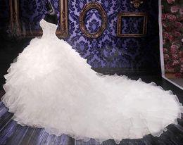 2019 cauda de organza 2019 novo luxo frisado bordado casamento doce princesa vestido de noiva sutiã organza catedral com a cauda vestidos de fiesta cauda de organza barato