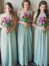 barato um ombro bridesmaids vestido Desconto 2019 Nova Menta Verde Barato Dama de Honra Vestidos de Plissados de Um Ombro Até O Chão vestes de deisiselle d'honneur convidado do casamento vestido BM0349