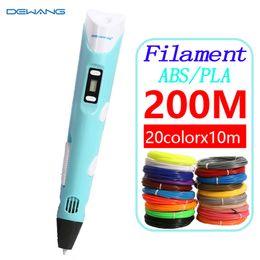 Plástico abs pla online-Dewang que imprime Modles 200m Abs / pla Filamento para los niños Wallpaper Scribble Pen 3d Plastic Handle C19041901