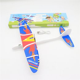 paper aircrafts Coupons - Kids Electric Aircraft Toy Airplane Model Hand Throw Plane Foam Launch Flying Glider Plane with box Kids Outdoor Game Interesting Toys SS241