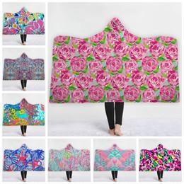 Areja personalizado on-line-Lilly Cobertor Com Capuz Personalizado Sherpa Cobertores De Lã Quente Cobertor Wearable Cobertores Do Ar Condicionado Crianças Wraps 10 Projetos 5 pcs YW1621