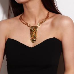 2019 dichiarazione collana all'ingrosso india Collana girocollo in metallo con maschera in metallo Rongho Hiphop per donne Collana in oro massiccio con pendente a forma di gioielli collier vintage