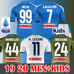 Camiseta de fútbol de nápoles online-19 20 Soccer Jersey Napoli Camiseta de fútbol HAMSIK INSIGNE 2019 2020 Nápoles MANOLAS LOZANO ALLAN VERDI MILIK HOMBRES Equipación infantil Camisetas de fútbol