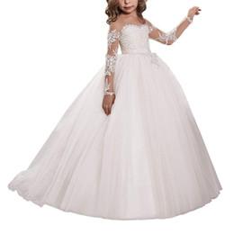 Canada Fleur Fille Robe Applique Dentelle Broderie Sheer Manches Longues Enfants Robes De Traîne Pour Le Mariage Occasion formelle fête Offre