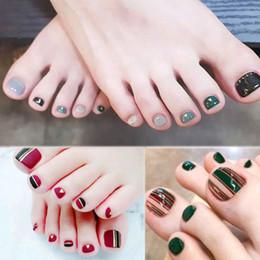pieds de filles décoration Promotion Hot Nail Décoration Manucure Toe Faux Ongles Pleine Couverture Étanche Femmes Pieds Nail Stickers 2018 New Art Filles