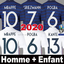 france soccer kit Coupons - 2020 France soccer jersey MBAPPE GRIEZMANN KANTE POGBA 100th anniversary Maillot de foot EURO 2021 Men Kids kits set football shirts Uniform