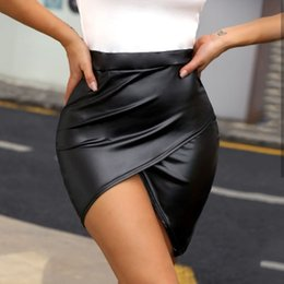 waisted skirts Promo Codes - Women Skirts 2019 Korean Elegant High Waist Ladies High Waisted Pencil Wrap Skirt Bodycon Leather Solid Color Mini Skirt Club