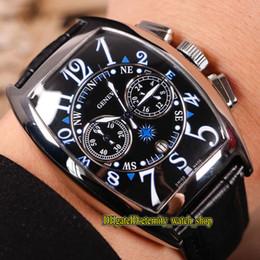 Alta calidad barata MARINER 9080 CC AT MAR Negro Dial Japón VK Cronógrafo de cuarzo Movimiento Reloj para hombre Estuche plateado Relojes deportivos de cuero desde fabricantes