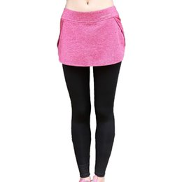 Leggings rosa morado online-2 en 1 Poliéster Yoga Leggings Mujeres Falda Deportiva Falda Pantalones Pantalones Corrientes Transpirables Femme Rosa Púrpura Azul