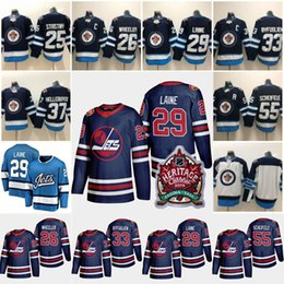 Blake wheeler jersey online-2019 Heritage Classic Winnipeg Jets Trikot 29 Patrik Laine 26 Blake Wheeler 33 Dustin Byfuglien 55 Mark Scheifele Hockey-Trikots