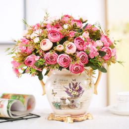 2019 andar vasos de flores artificiais Festa diy decoração outono falso chá rosa dolly subiu queda de flor de seda artificial flor para festival de casamento suprimentos home decor buquê