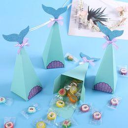 Idea di regali di anniversario online-Sacchetti di caramelle personalizzati Regali di anniversario romantico Imballaggio Idee Scatole di favore blu mare Matrimonio grazie Borse