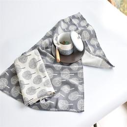 Towels linens en Ligne-Arbre Motif Serviettes Simple Moderne Style Torchon CotonLinette Salive Serviette Réutilisable Serviette De Cuisine 50x70cm Serviette De Table
