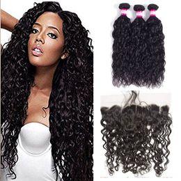 Atacado Brasileiro Virgin cabelo humano Onda de água 3 pacotes com frontal Encerramento 100% Tece cabelo humano e 13x4 Lace Frontais cabelo do bebê de Fornecedores de tinge weave mel loira