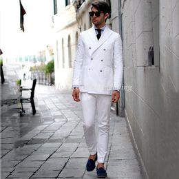 casaco de pêlo duplo branco mens Desconto Linho branco Mens Ternos de Casamento Slim Fit Casamento Smoking Double Breasted Noivo Roupas Noivo Ternos 2 Pcs Casaco Calças Traje Homme Blazer