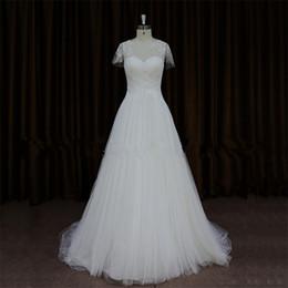 Dentelle blanche ou ivoire formelle une ligne robe de mariée en tulle manches courtes longue simple robe de mariée occasion spéciale demoiselle d'honneur robe 17wed284 ? partir de fabricateur
