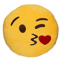 Carro do emoticon on-line-Macio Emoji Rodada Emoticon Recheado de Pelúcia Brinquedo Boneca Travesseiros Almofada Cintura Carro Bonito Venda Quente Novo