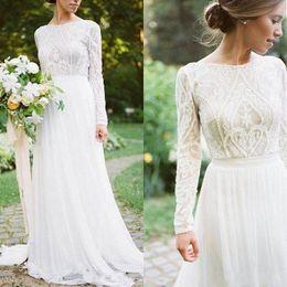 Vestidos de estilo bohemio vintage online-Estilo Vintage País vestidos de novia vestidos de boda modesta, con mangas largas de gasa de Bohemia del cordón de 2019 BC1572 vestido de boda barato